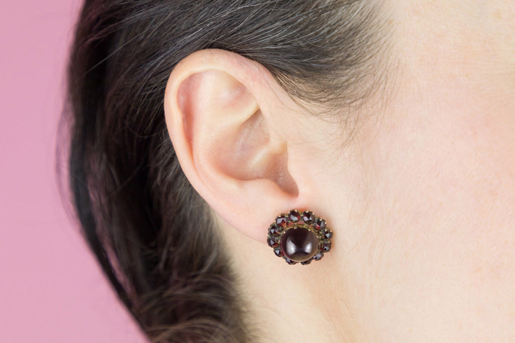 Victorian Garnet Cabochon Cluster Earrings