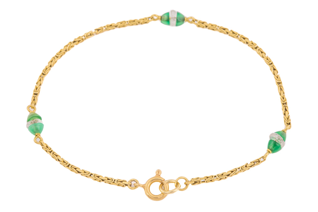 Art Deco 18ct Gold Rock Crystal Chrysoprase Bracelet