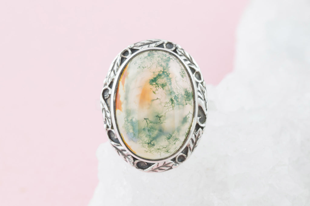 Antique Moss Agate Silver Ring