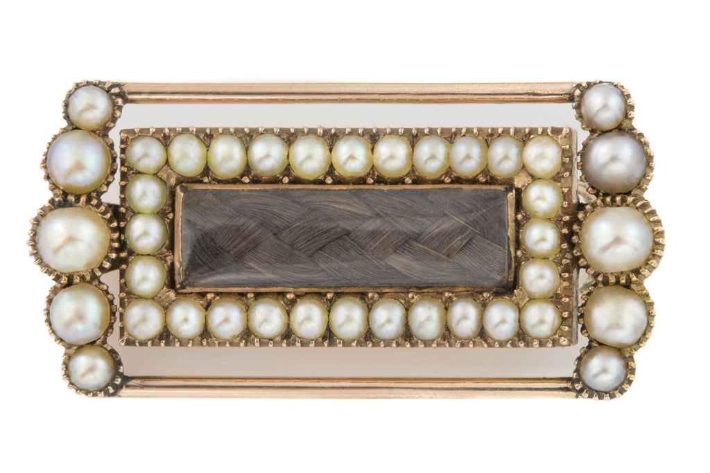 Georgian Natural Pearl Hair Brooch in 12ct Gold
