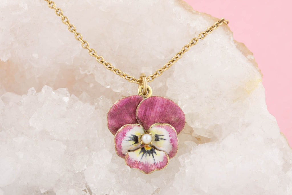 "Antique 15ct Gold Pink Pansy Pearl Pendant with 16 & 1/8"" Chain"