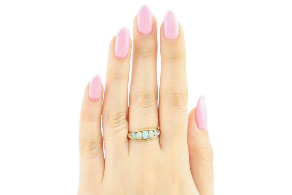 Antique 18ct Gold Five Stone Opal Ring