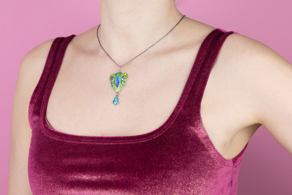 "Art Nouveau Silver Enamel Pendant, with Adjustable 16"" or 18"" Chain"