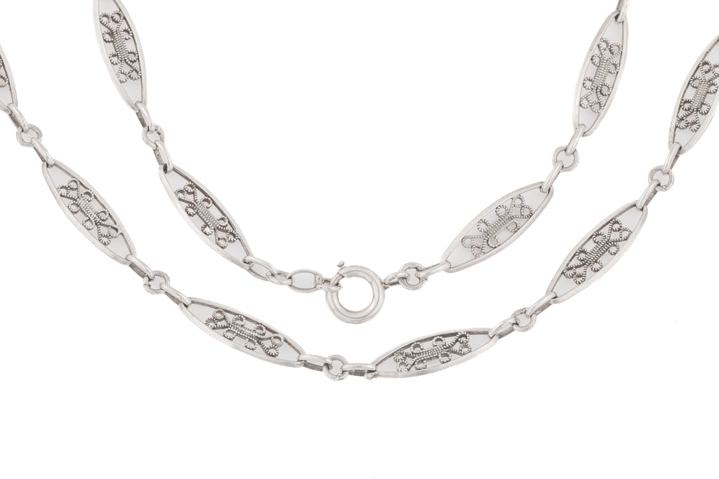 French Antique Silver Filigree Chain, 21""