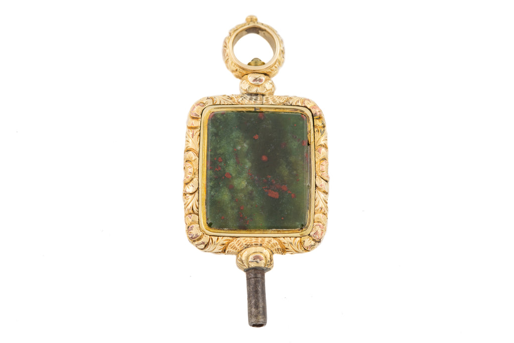 Large Antique Watch Key Bloodstone Chalcedony Pendant