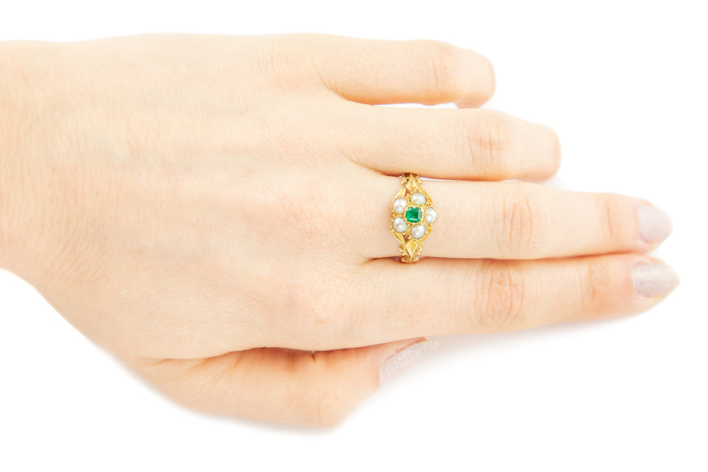 Georgian 18ct Gold Pearl Emerald Cluster Ring with Locket Back
