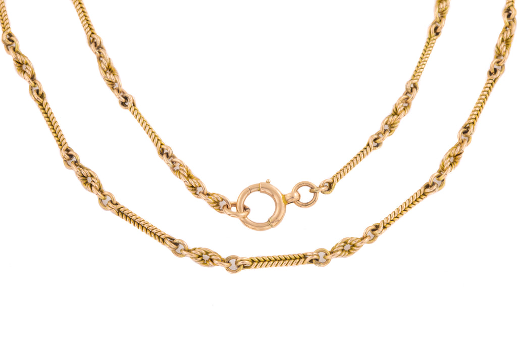 "Victorian Gold Twisted Bar Knotted Chain, 18"" (13.7g)"