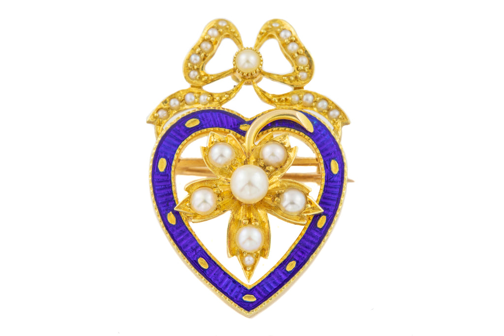 Edwardian 15ct Gold Pearl Heart Pendant, with Brooch Attachment