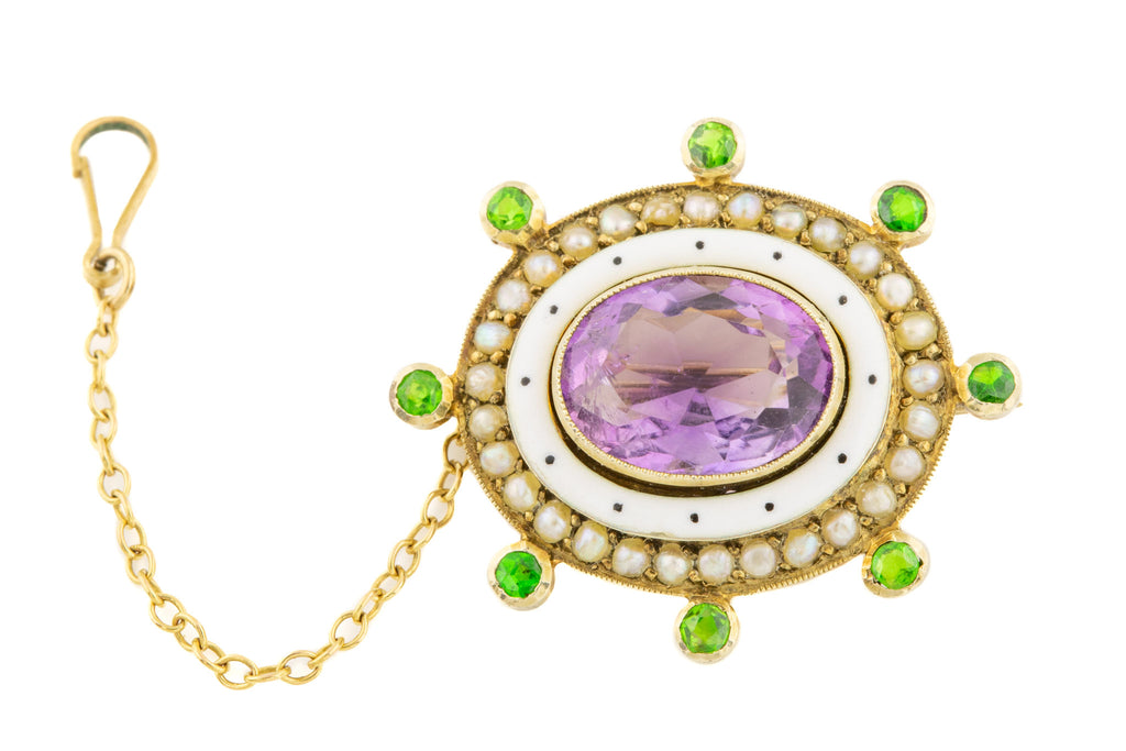 Antique Suffragette Amethyst Green Garnet Enamel Pearl Brooch