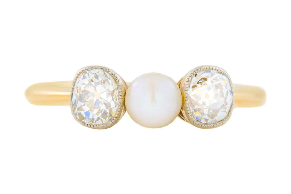 18ct Gold Old Mine Cut Diamond Pearl Trilogy Ring (0.80ct)
