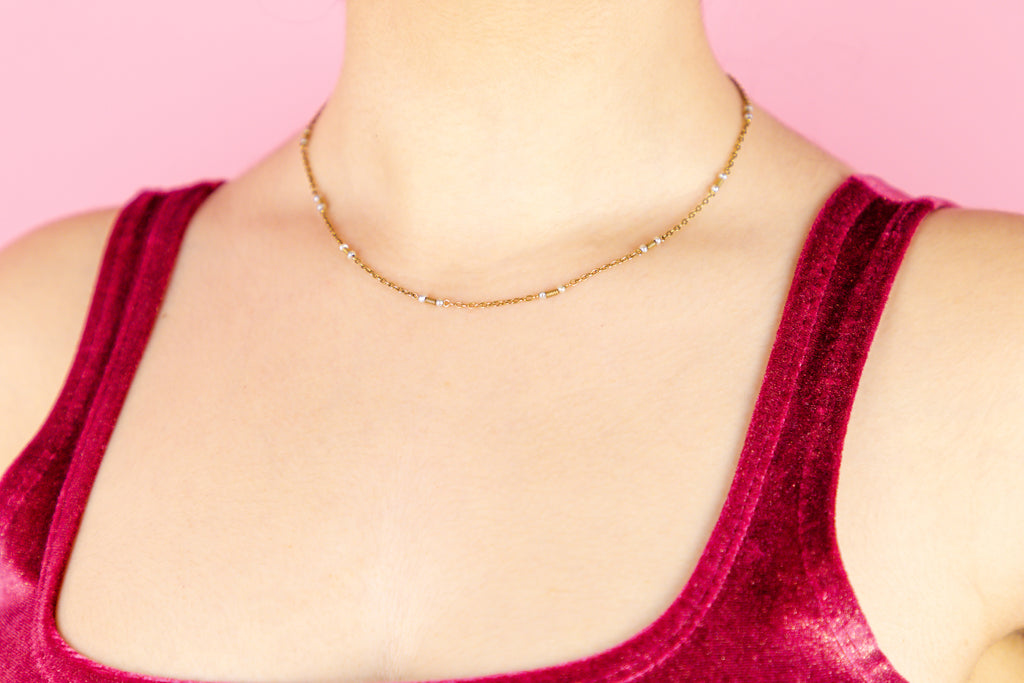 Edwardian 15ct Gold Pearl Chain, 16 & 3/8""