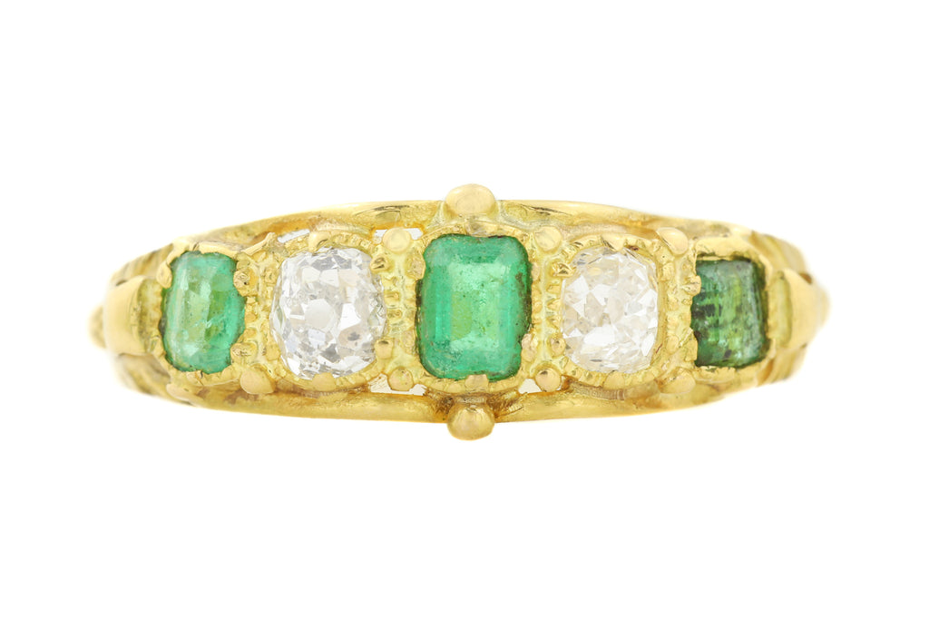Georgian 18ct Gold Emerald Diamond Five Stone Ring