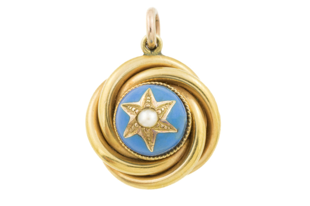 Victorian 18ct Gold Enamel Pearl Pendant