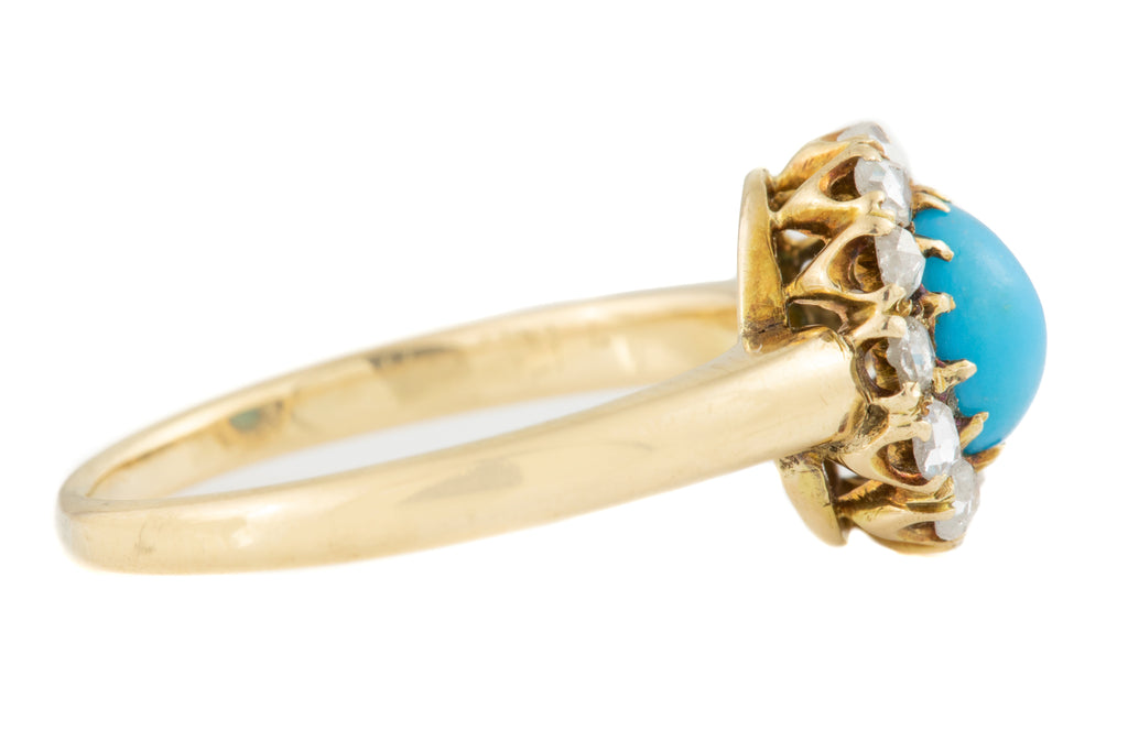 Victorian 15ct Gold Turquoise Diamond Cluster Ring