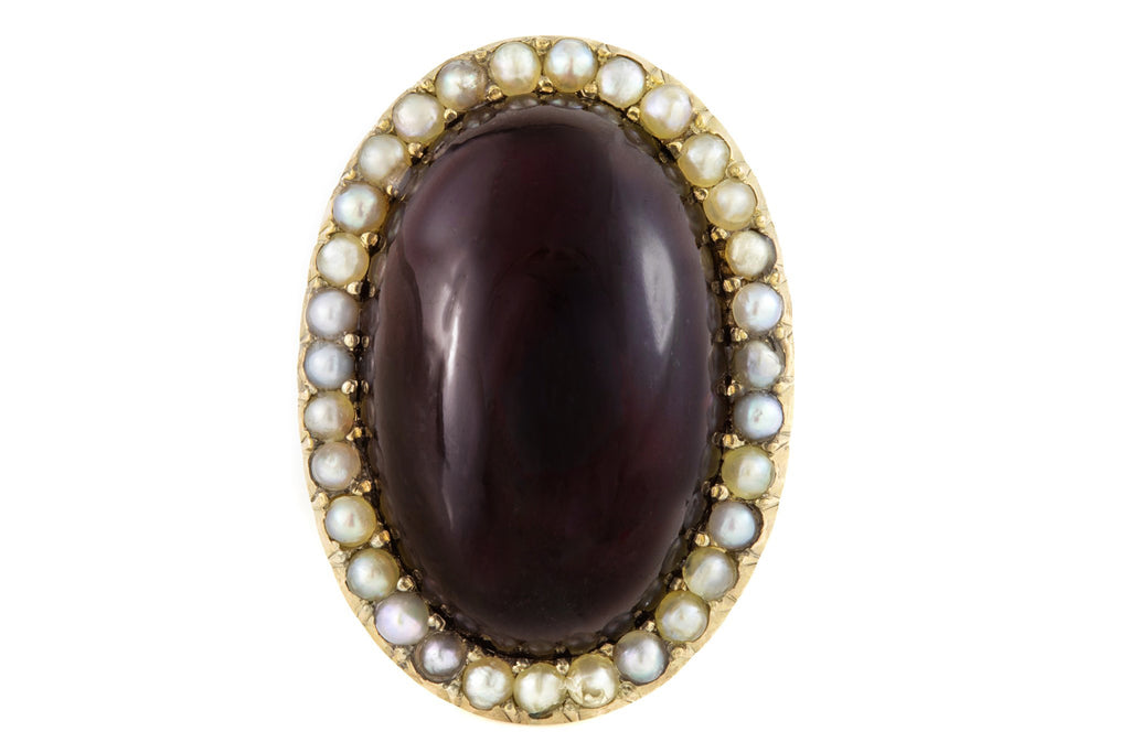 Antique Gold Garnet Pearl Statement Ring (22.23ct)