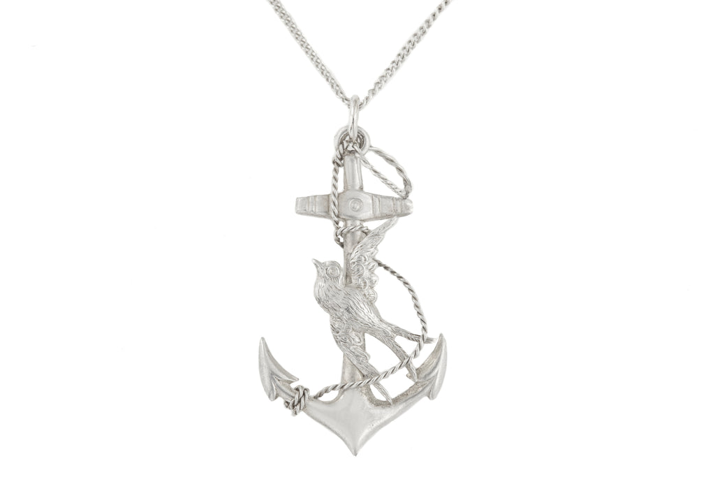 "Antique Silver Anchor Pendant with 16 & 1/4"" Chain, c.1907"