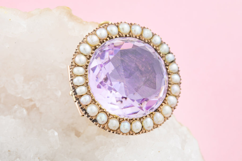 Victorian Gold Amethyst Pearl Brooch Pendant (17.68ct)