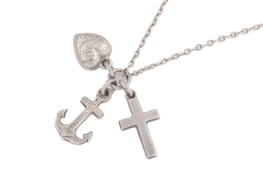 "Victorian Faith Hope Charity Silver Charms, with 20&1/4"" Chain"
