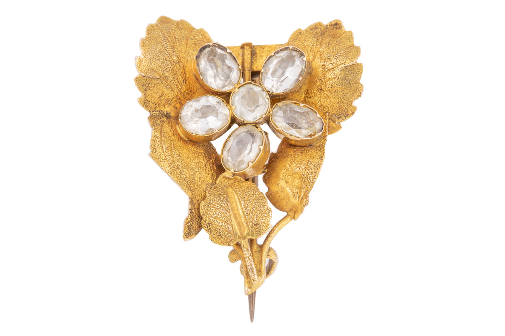Antique 18ct Gold Rock Crystal Flower Brooch