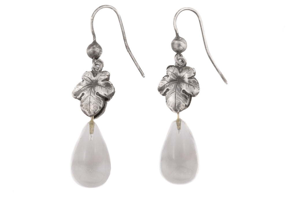Art Nouveau Rock Crystal Drop Earrings with Fig Leaf Motif