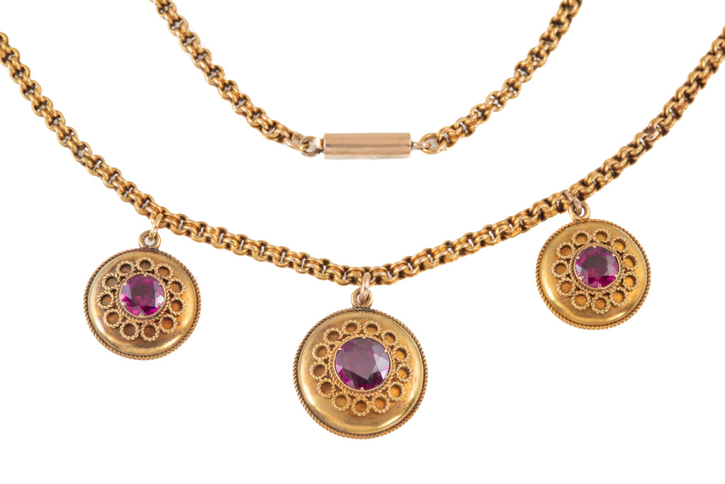 Victorian 15ct Gold Garnet Necklace (1.80ct), 16 & 1/2""