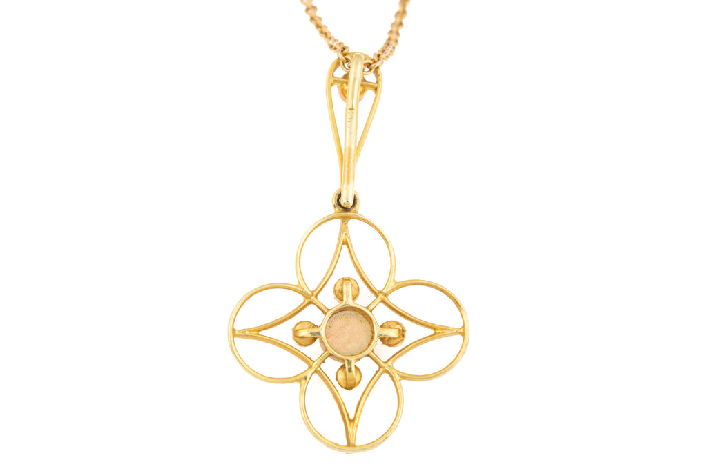 "Art Nouveau 18ct Gold Opal Pearl Pendant, with 21"" Chain"