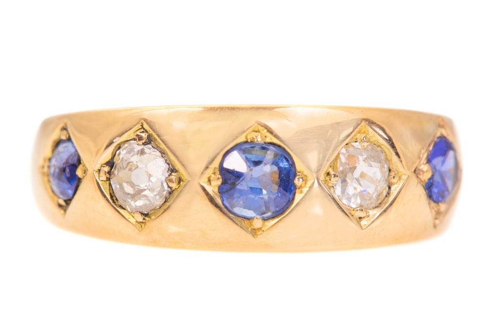 18ct Gold Victorian Five Stone Sapphire Diamond Ring, c.1878