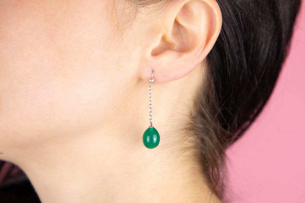 Antique Silver Chrysoprase Drop Earrings (16.00ct)