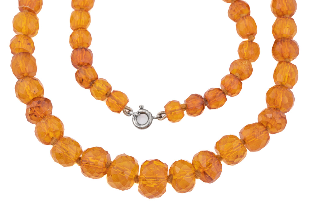 Art Deco Amber Necklace, 31 & 1/2""