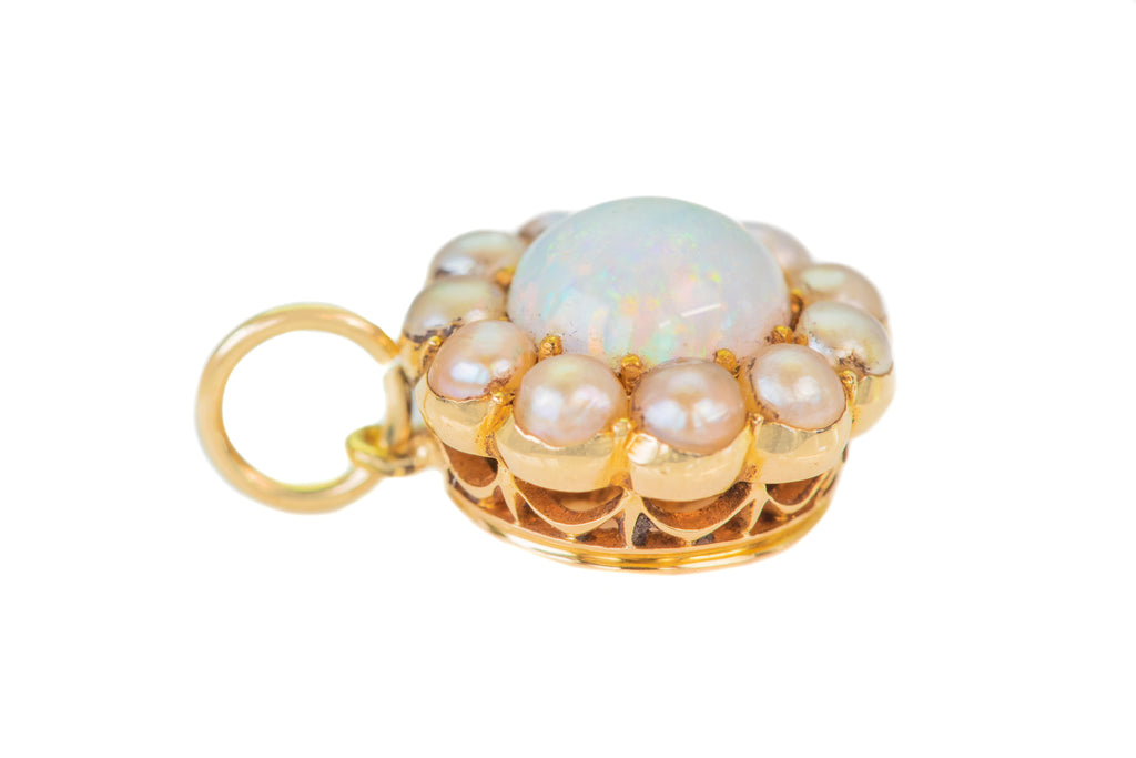 Antique 18ct Gold Opal Pearl Flower Pendant (0.76ct)