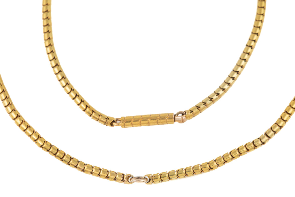 "Victorian 18ct Gold Snake Chain with Engraved Barrel Clasp, 16 & 1/2"" (9g)"