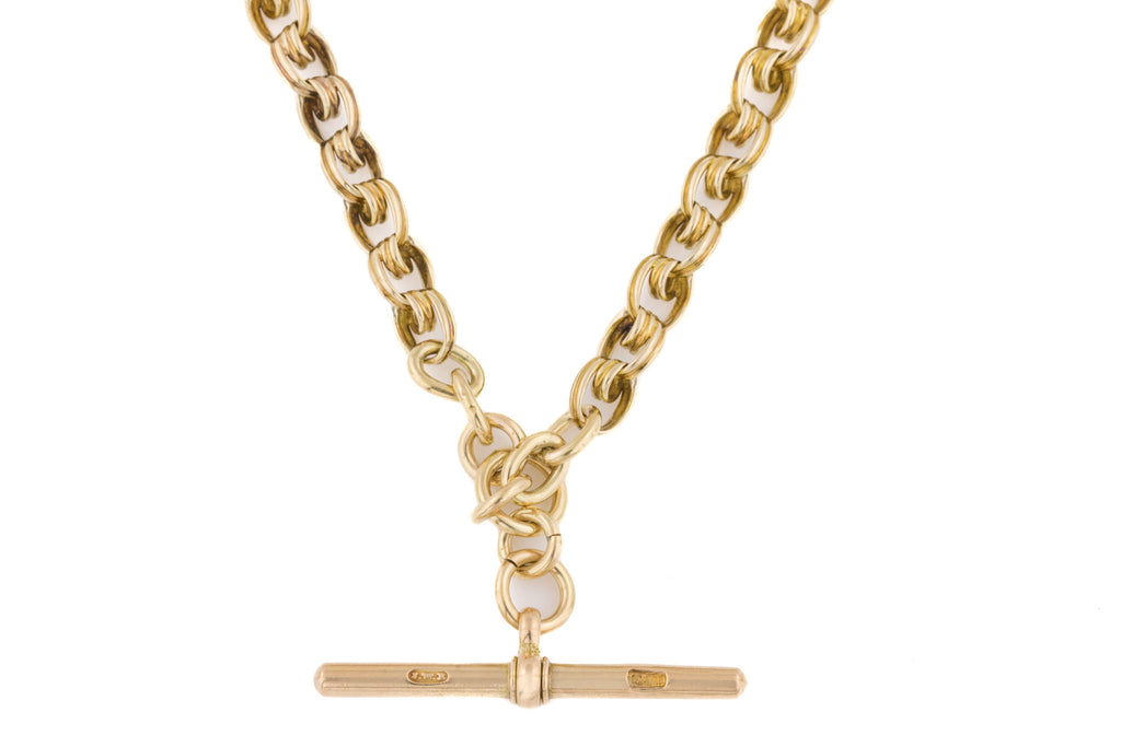 "Antique Albert Chain Necklace with T-bar, 16"" (31.5g)"