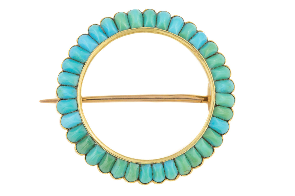 French Antique 18ct Gold Turquoise Brooch