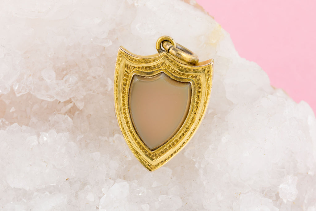 Antique Gold Agate Mourning Shield Locket