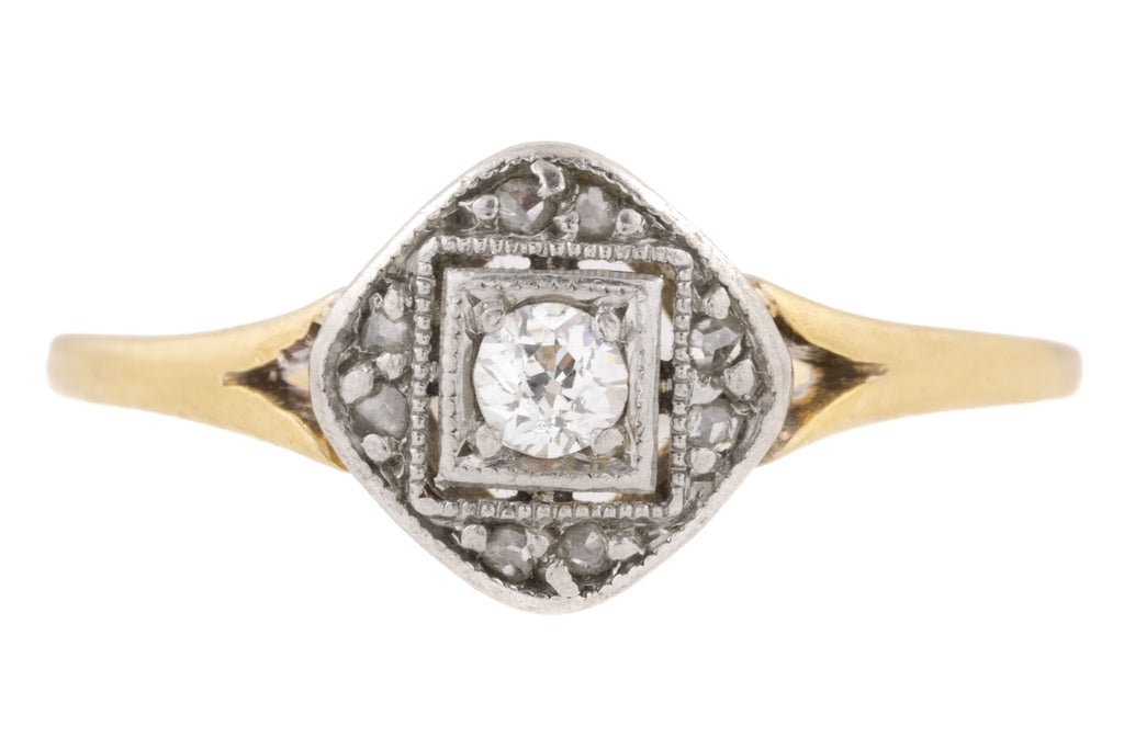 Art Deco 14ct Gold Diamond Platinum Ring