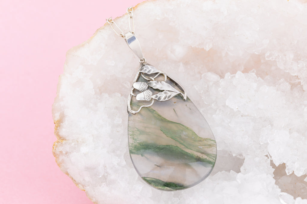 "Antique Moss Agate Teardrop Pendant, with 18"" Antique Chain"