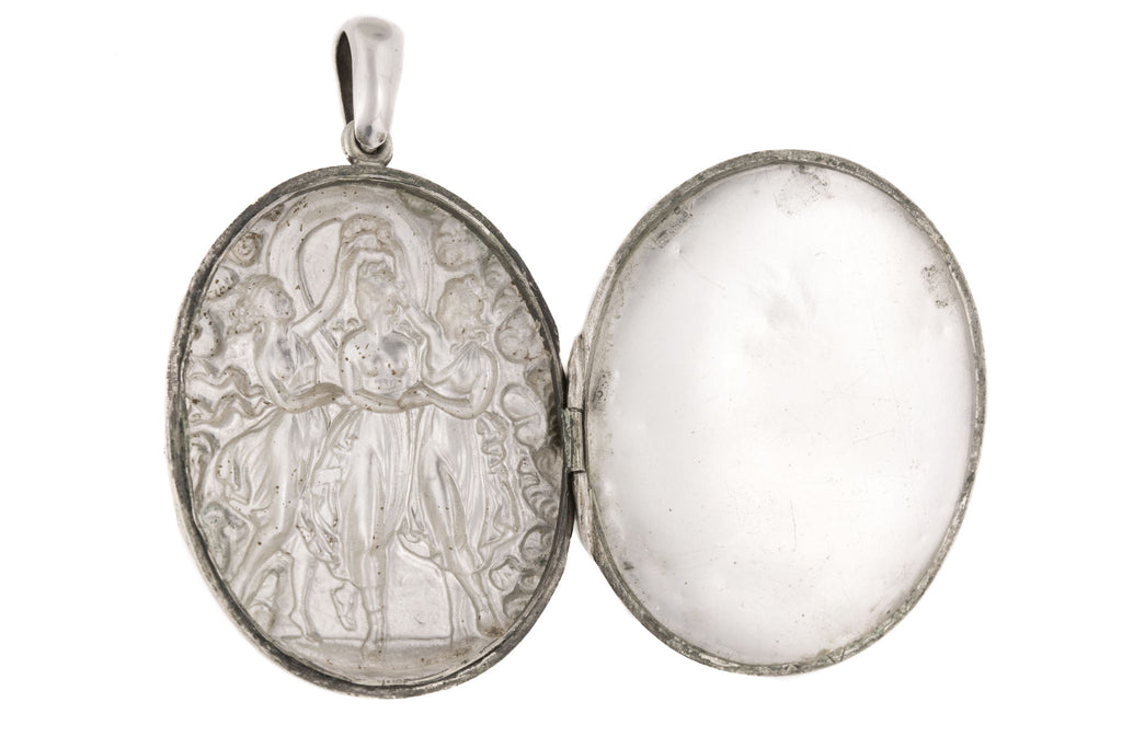 "Art Nouveau Silver Repoussé Locket, ""The Three Graces"""
