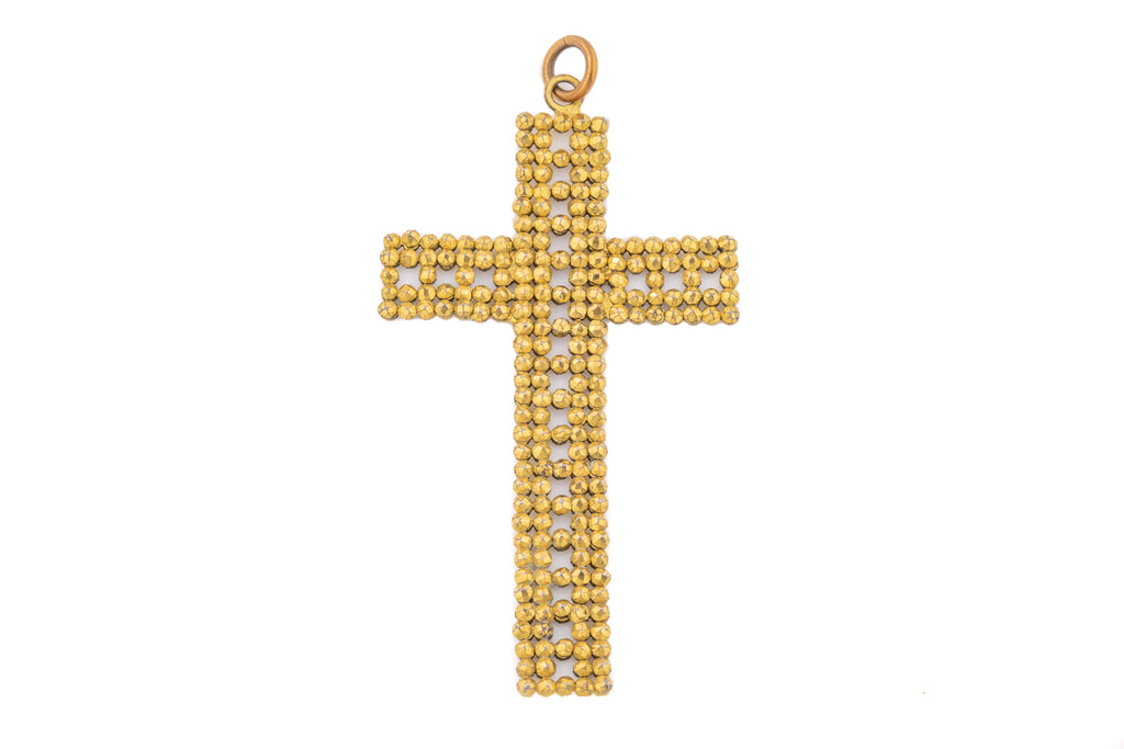 Large Georgian Gilded Steel Cross Pendant