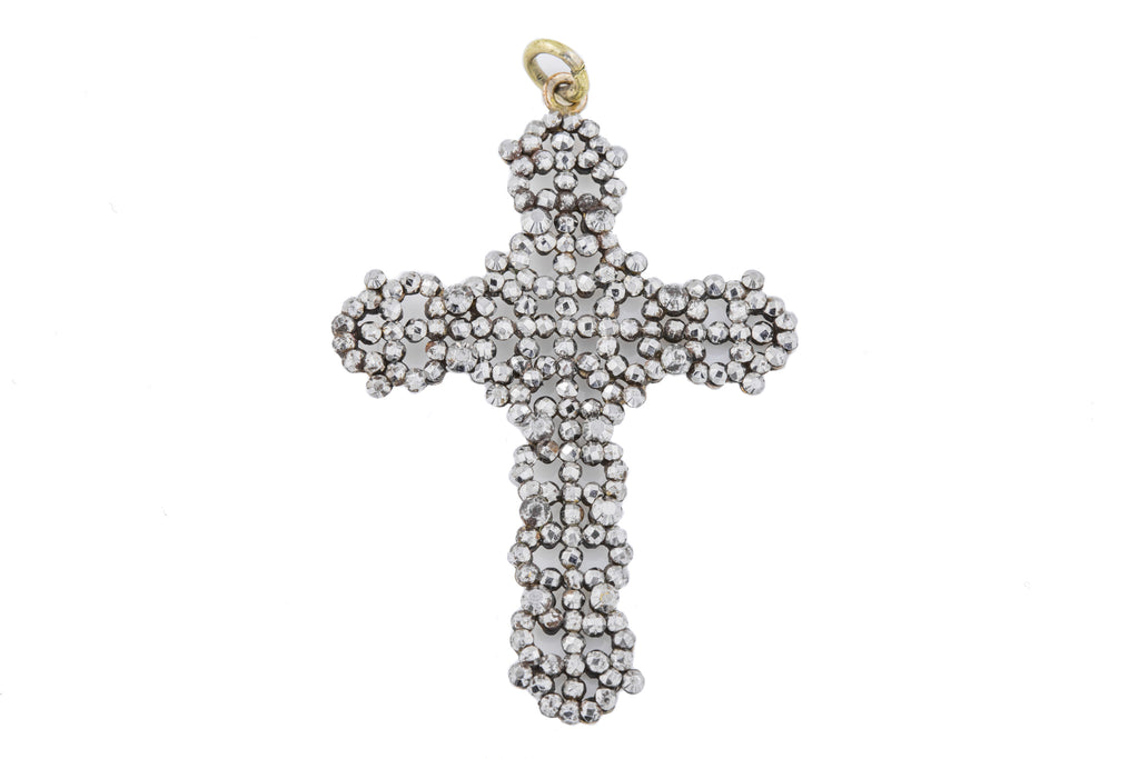 Large Georgian Decorative Cut Steel Cross Pendant