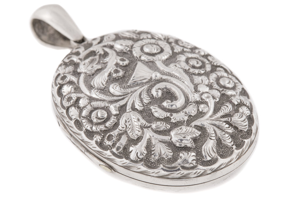 "Large Victorian Silver Embossed Locket, ""Jennie"" Inscribed c.1879"