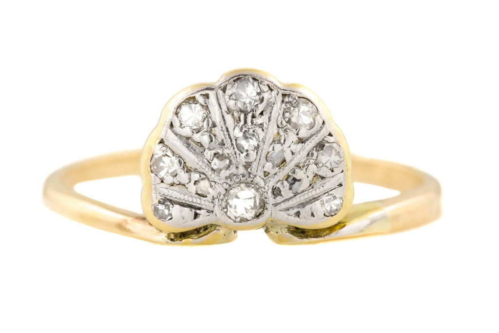 Art Deco 18ct Gold Diamond Fan Ring (0.15ct)