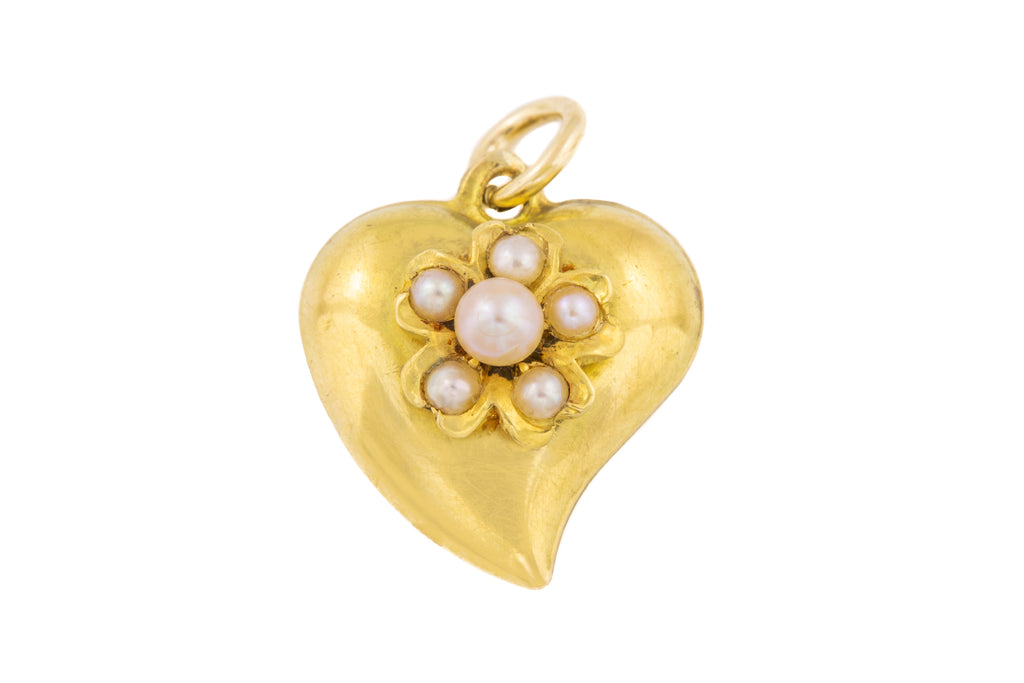 Antique 18ct Gold Pearl Witches Heart Pendant