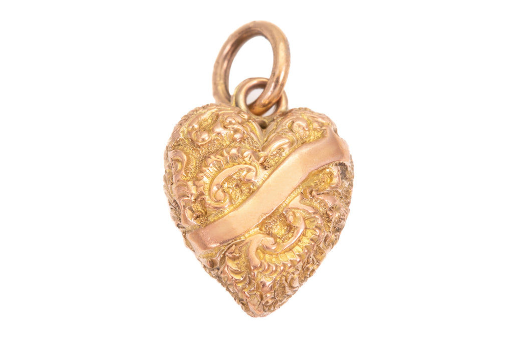 Antique Gold Embossed Heart Charm Pendant