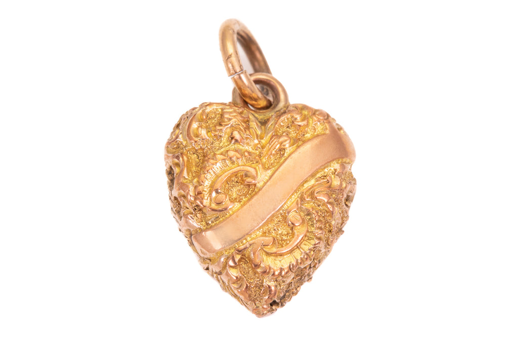 Dainty Antique Gold Embossed Heart Charm Pendant