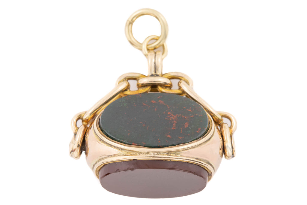 9ct Gold Antique Three-Sided Swivel Fob Pendant, Agate, Bloodstone and Carnelian