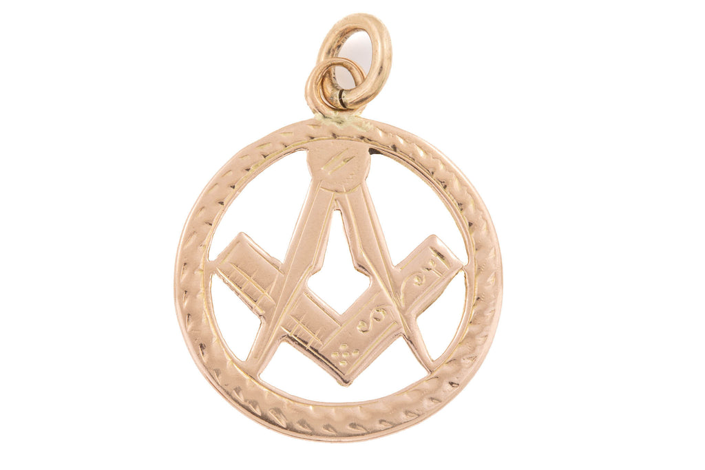 Antique Rose Gold Masonic Compass Pendant c.1917