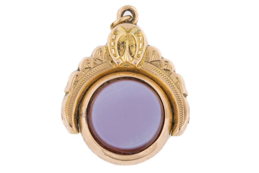 Antique Gold Agate Spinning Fob Pendant with Horseshoe Motif c.1987