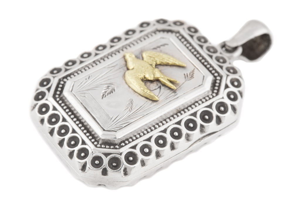 Victorian Aesthetic Silver Locket with Gold Bird c.1880