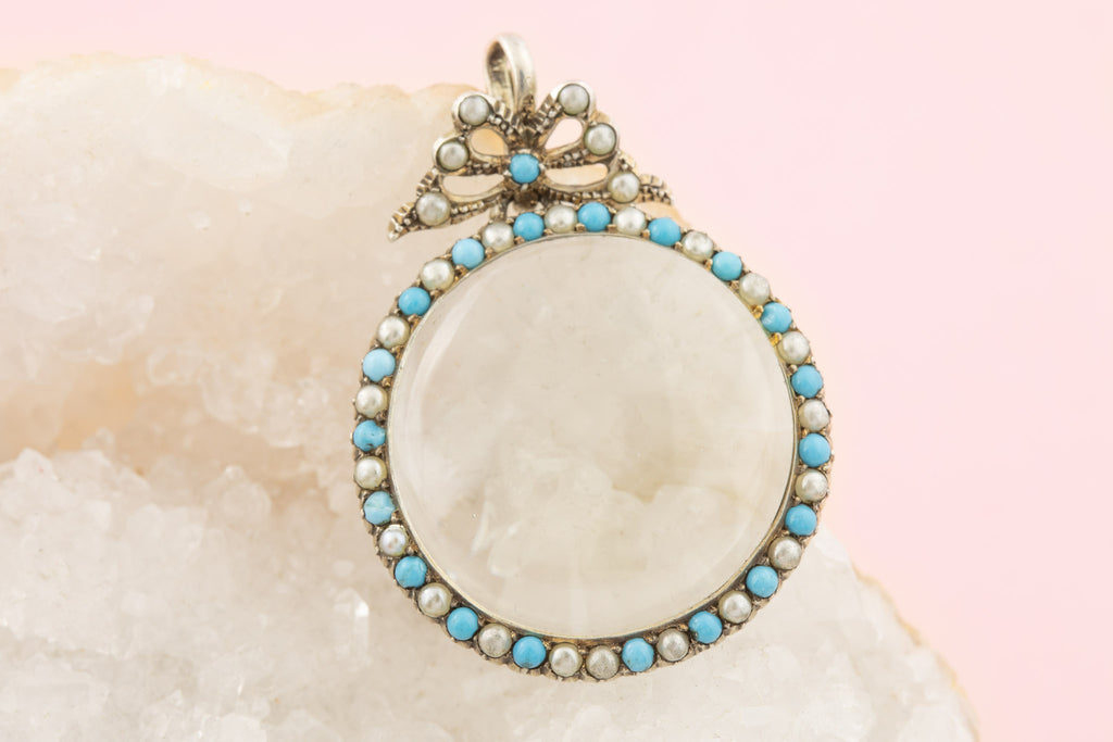 Edwardian Pearl Turquoise Glass Shaker Locket