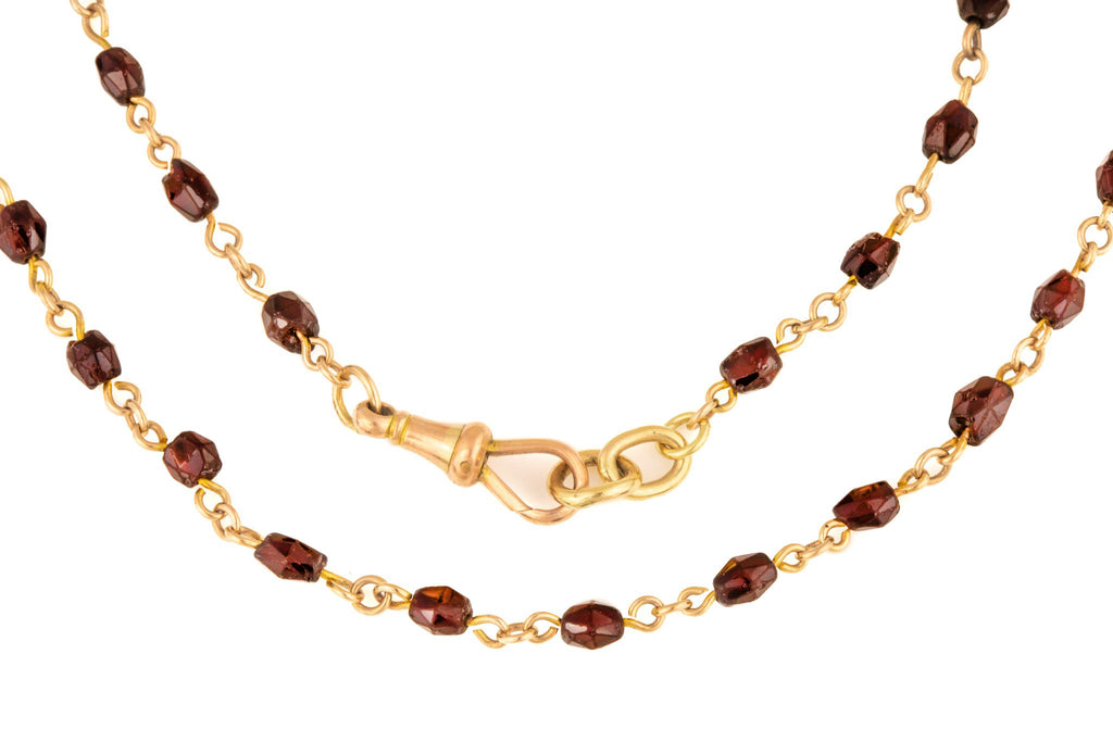 Antique Gold Garnet Bead Necklace with Dog Clip, 18 & 1/4""